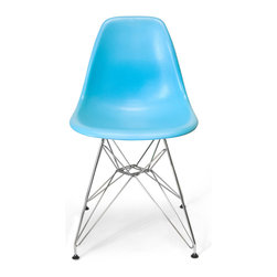 Inmod - Molded Plastic Eiffel Side Chair (Set of 2), Blue - Perched atop the Molded Plastic Eiffel Side Chair, you can daydream about eating croissants in Paris, or perhaps you'll be inspired to don a beret instead.