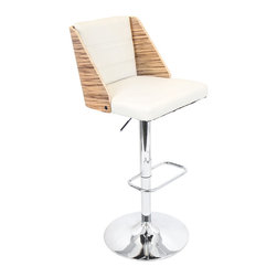 "Lumisource - Galanti Bar Stool, Zebra + Cream Pu - 20.25"" L x 18.5"" W x 38.75 - 43.75"" H Seat Height: 27.25 - 32.25"