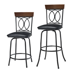 Linon Home Decor - Linon Home Decor O X Three Piece Adjustable Stool Set X-10LTM10489 - The O X Three Piece Adjustable Stool Set is perfect for adding seating to a home bar, kitchen island or pub set. The simple, sleek design is accented by a decorative O and X back and topped with wood trim. The adjustable legs add versatility to this piece, allowing you to easily change the height of the seat. The brown finish allows this set to complement a range of home decor styles and color schemes. 275 pound weight limit.