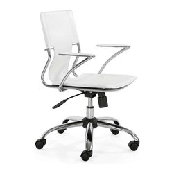 Zuo Modern - Zuo Modern Trafico Office Chair, White - This fun and functional office chair combines a modern and transitional look. The Trafico office chair is made from a solid chrome frame, leatherette sling seat and arm pads, a chrome base, and an adjustable height mechanism.