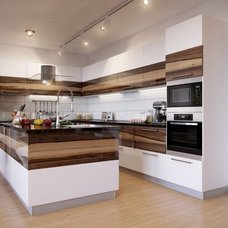 Kitchen Cabinets Apartments. Apartment Design with White Interior and Wood Accent: Track Backligh