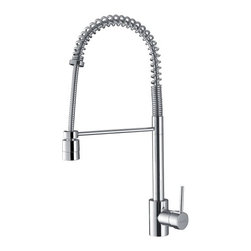 Ruvati - Ruvati RVF1210CH Commercial Style Pullout Spray Kitchen Faucet - Polished Chrome - This premium Ruvati kitchen faucet from the Cascada collection is constructed of solid brass giving it exceptional durability. The ceramic disc cartridge ensures drip-free functionality. The faucet can be installed into countertops up to two inches thick. Hot and cold water connection hoses are included.