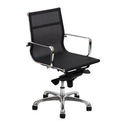 Modway - Modway EEI-193 Slider Mid Back Office Chair in Black - The Slider All-mesh Office Chair is a clean lined stylish choice. Engineered to be comfortable in all weathers, this chair is a great choice for those who want the benefits of mesh.
