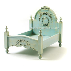Shabby Chic Dog Beds - Beautiful solid wood shabby chic dog bed in a beautiful antique aquamarine finish. This bed uses a standard size pillow as the mattress.