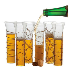 Abigails - Razzle Dazzle Stemless Flutes, Gold, Set of 6 Asst., Gold - One of the newest and most fun way to serve champagne is this set of champagne glasses. This set of six stemless flutes are decorated with three different designs outlined in gold.