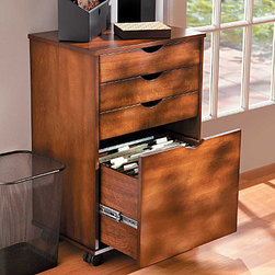"Improvements - 4-Drawer Storage Cart with File - 4-Drawer Storage Cart with File has drawer stops to keep drawers from being pulled out too far. This mobile storage cart can also be used without the casters as a stationary cabinet. The 4-Drawer Storage Cart with File is available in assorted finishes to coordinate with any decor. Our 4-Drawer Storage Cart with File helps you organize your work area.Wheel this rolling storage cart wherever you need it: home office, family room, craft room, child's room. The 4-Drawer Storage Cart with Filet features drawers for easy organization plus gliding casters that lock in place. Crafted of sturdy wood composites and veneer, the rolling cart has a classic style to enhance any room. This 4-Drawer Storage Cart features a generously-sized file drawer for letter or legal-size folders. Assembly is required; the included anti-tip hardware will help keep the rolling cart steady when drawers are pulled out. Desk Work Surface (sold separately) is specially designed to fit securely on top of two cabinets to create a convenient 42""- or 62""- long desk. Just set it in place -- a ledge under the Desk Work Surface keeps it from slipping; no hardware required. Benefits of the Rolling Carts:"