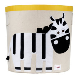 3 Sprouts - 3 Sprouts Storage Bin, Zebra - Help your kids clean up their acts with our cute zebra pattern animal storage bins in black & white from 3 Sprouts . This bin is well sized for storing toys or as a laundry hamper. The bin collapses for easy storage when not in use. It is made up of 100% cotton canvas and coated on the inside for easy cleaning. It is the perfect gift for babies and toddlers.