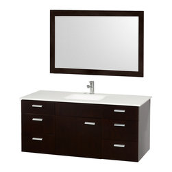 "Wyndham Collection - Encore Bathroom Vanity in Espresso,White Stone Top,White Integral Sink - Featured in the CG Collection by Christopher Grubb, the Encore 52"" Single Bathroom Vanity combines clean modern design, natural solid marble, and the open spacious feeling of a wall-mount vanity. Six drawers and large center door are all built with soft-close hinges and slides and provide abundant storage. Beautiful selection of counters to match your style. This vanity can be mounted to your perfect height because of the variable wall-mount design. And finally add the Accara 46"" Mirror for an appealing set."