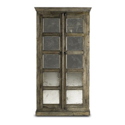 Currey & Company - Kinsett Cabinet - A combination of wood and antiqued mirror is used to create this cabinet that not only looks good but is also very functional. Crafted from Mango wood, slight variations in tone and texture are common. For everyday care, dust with a clean dry cloth.