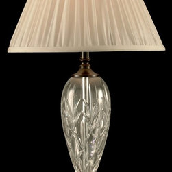 Dale Tiffany - Dale Tiffany GT11224 Lucy Traditional Table Lamp - Handsomely faceted, the Lucy table lamp is a real sparkler that is certain to be the focal point in any room in which it is displayed. Perfect for a living room, den, study or office, this lamp features an intricate leaf pattern on the bubble shaped column, which is designed to catch the light and cast it about the room. The graduated pedestal base is finished in oil rubbed bronze and features shell detailing. A classic, pleated off white shade adds just the right finishing touch while not detracting from the beauty of the crystal. The ideal lighting option for a formal living room or bedroom, try displaying Lucy in pairs for a spectacular effect.
