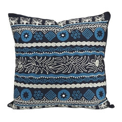"IMAX - Sumir Pillow - The contrasting blue and black patterns unite to make a hip Sumir pillow. Item Dimensions: (20""h x 20""w)"