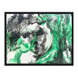 Emerald Triptych: Untitled Modern Abstract Art II - Explore the pathways of this striking one-of-a-kind abstract painting by Christopher LaBauve. This original modern artwork is conceived entirely by hand, using the artist's proprietary techniques. The canvas is constructed of a composite wood panel, surrounded by a solid wood floater frame. This bold painting channels the styles of Pollock, Twombly and Friedman, with swirls of black speedball ink melding into a luxe glaze of archival bookbinding resin. A bright emerald green accent color from paint pigment powder is layered into the artwork with subtle brush strokes. The finished product reveals a highly textural surface that delicately captures light and shadows, while radiating with an intense yet sophisticated accent color likened to Malachite stone. The artist creates his work from above, moving in a 360 degree pattern with his brush strokes. Enjoy his creation vertically or horizontally, up or down, to fully appreciate each of the artist's perspectives. The Christopher LaBauve collection represents a quality body of work by a rising star in the world of abstraction. Untitled Modern Abstract III is one of three original pieces in LaBauve's Emerald Triptych series, inspired by Emerald Green, the 2013 Pantone Color of the Year. Let his modern abstract art serve as the foundation to your roomscape, as well as your original art collection.