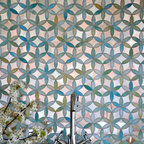 Fiona Jewel Glass and Mirror Mosaic - Fiona, a jewel glass waterjet mosaic shown in Aquamarine and Dusk Mirror, is part of the Silk Road Collection by Sara Baldwin for New Ravenna Mosaics.