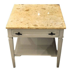 Pre-owned Travertine Stone Top Side Tables - A Pair - An elegant pair of side tables. Each table features a beige travertine stone top with plenty of visual interest. The bases have a taupe lacquered finish, one shelf, one drawer, and bronze finished hardware.