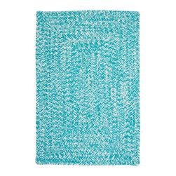 Colonial Mills, Inc. - Indoor/Outdoor Catalina, Aquatic Rug, Sample Swatch - Feel like you're walking across a shimmering pool. The braided construction on this rug whispers of yesterday, but the vivid color and square corners scream now! Woven in worry-free polypropylene, it's fade and stain resistant and reversible for long-lasting comfort, color and beauty. Don't you need a little fun underfoot?