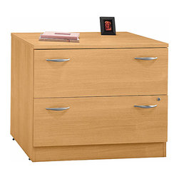 Bush Business - Lateral File Cabinet in Light Oak - Series C - The Light Oak Series C Lateral File with Two Drawers features full-extension, ball bearing slides to allow easy file access to interlocking drawers that reduce the likelihood of tipping.  This stylish contemporary lateral file is secured with a gang lock.  Accent an office or open administrative space with these beautiful and classic lateral file cabinets.  Light oak finish and double satin pulls are a wonderful complement to contemporary spaces.  This contemporary lateral file system comes in a lovely light oak finish to go perfectly with almost any office furnishings. * Two drawers hold letter, legal or A4-size files. Interlocking drawers reduce likelihood of tipping. Gang lock with interchangeable core affords privacy and flexibility. Full-extension, ball bearing slides allow easy file access. Matches heightof Desks, Credenzas and Lateral File for side-by-side configuration. Levelers provide stability on uneven floors. 35.669 in. W x 23.346 in. D x 29.842 in. H