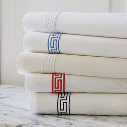 Classic Greek-Key Bedding - This is one of our favorites! The Greek key detail just takes it to the next level.Ranges in price from $58 to $388.