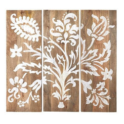 Home Decorators Collection - Faria Wood Wall Panel - Set of 3 - The floral design handpainted across our set of three Faria Wall Panels creates an enchanting effect in any room. Dress up your bedroom, add inspiration to your home office or make an impression in the living room. Set of 3. Handpainted. Sawtooth hanging hardware included. Neutral tones complement virtually any decor.
