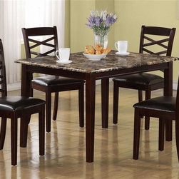 Monarch Specialties - 5-Pc Casual Dining Set in Dark Cherry Finish - Includes table and four side chairs. Rectangular shape table. Marble veneer top. Sleek shaker legs. Chairs with criss-cross design. Padded upholstered seat. Chair: 20 in. W x 17.5 in. D x 38 in. H. Table: 47.75 in. L x 36 in. W x 30 in. H (115 lbs.)This casual, five piece dining set offers classic styling that will blend with any decor. The clean lines of this set will help create a timeless look that you and your family will love.