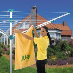 Juwel - Novaplus 500 Umbrella Clothesline Dryer Multicolor - NOVA 500 - Shop for Drying Lines from Hayneedle.com! You've never met a clothesline dryer like the Novaplus 500 Umbrella Clothesline Dryer. Constructed of super tough materials like high-quality airplane aluminum and a high tension fiber that's also used in bullet-proof vests this clothesline is super tough. It offers 140-feet of drying space over nine lines - that's enough for four or five loads of wash! It comes assembled and ready-to-use right out of the box. A ground socket/tube with a flat clover to keep debris out is also included. Set it into the ground or create a concrete wheel by filling an old tire with Quickcrete. Additional features 2-year manufacturer's defect warranty Opens with an easy pull of a single handle Cover keeps lines and rotary dryer clean Plastic parts made from industrial strength Polyamide plastics 140-feet is the hanging distance minimum and maximum Open dimensions: 76L x 76W x 80H inches Closed dimensions: 6 diam. x 77H inches Made in Austria