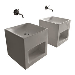 """WS Bath Collections - Cento 3538 Cube Shaped Wall Hung or Counter Top Ceramic Sink 17.7"""" x 17.7"""" - Cento by Wes Bath Collections Bathroom Sink 17.7 x 17.7, Designed by Marc Sadler of Italy, Cube Shaped Wall Hung or Counter Top Installation, in ceramic white"""