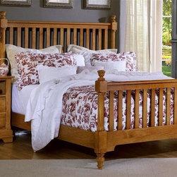 Vaughan Bassett - Slat Poster Bed w Nightstand in Oak Finish (Q - Choose Bed Size: QueenIncludes slat poster bed and nightstand. Oak finish. Assembly required. Nightstand:. 2 Drawers. 1 Open shelf. 28 in. W x 16 in. D x 29 in. H. Slat poster bed:. Full Size:. Includes slat poster headboard, slat poster footboard and wood rails with 3 1-inch slats. Slat poster headboard: 64 in. L x 3 in. W x 58 in. H. Slat poster footboard: 64 in. L x 3 in. W x 35 in. H. Wood rails: 76 in. L x 6 in. W x 1 in. H. Queen Size:. Includes slat poster headboard, slat poster footboard and wood rails with 3 1-inch slats. Slat poster headboard: 64 in. L x 3 in. W x 58 in. H. Slat poster footboard: 64 in. L x 3 in. W x 35 in. H. Wood rails: 82 in. L x 6 in. W x 1 in. H. Eastern King Size:. Includes slat poster headboard, slat poster footboard and wood rails with 6 1-inch slats. Slat poster headboard: 81 in. L x 3 in. W x 58 in. H. Slat poster footboard: 81 in. L x 3 in. W x 35 in. H. Wood rails: 82 in. L x 6 in. W x 1 in. H. California King Size:. Includes slat poster headboard, slat poster footboard and wood rails with 6 1-inch slats. Slat poster headboard: 81 in. L x 3 in. W x 58 in. H. Slat poster footboard: 81 in. L x 3 in. W x 35 in. H. Wood rails: 86 in. L x 6 in. W x 1 in. H