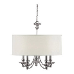 Capital Lighting - Capital Lighting Midtown Transitional 5-Light Chandelier X-554-NP5193 - Update your home decor with this sleek chandelier. The graceful frame comes in a polished nickel finish which nicely complements the fabric drum shade. The Capital Lighting Midtown Transitional chandelier is a great addition to a wide range of room settings.