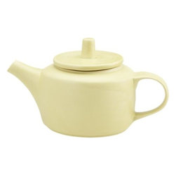 Cozy Teapot - Renowned designer Barbara Eigen imagined our special coffee and tea collection in a charming shade of pastel yellow. Friendly teapot with mid-century modern references features a flat lid with tall thimble handle.