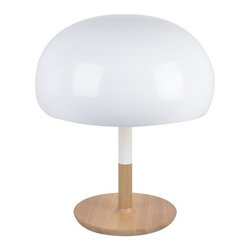 ParrotUncle - White Mushroom Wood Table Lamp - White Mushroom Wood Table Lamp