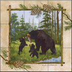 The Tile Mural Store (USA) - Tile Mural -  Lunch Time  - Kitchen Backsplash Ideas - This beautiful artwork by Anita Phillips has been digitally reproduced for tiles and depicts a framed bear.    A bear tile mural would be perfect as a part of your kitchen backsplash tile project or your tub and shower surround bathroom tile project. Bear images on tile make a great kitchen backsplash idea and are excellent to use in the bathroom too for your shower tile project. Consider a tile mural with bear pictures for any room in your home where you want to add wall tile with interest.