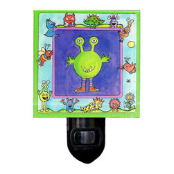 Monster Night Light - Our friendly Monster Night Light is made of a print of original painting which is sandwiched in between two layers of durable acrylic. The light is UL approved and comes with a standard four watt night light bulb. Gift box included. Made in the USA. (Be sure to look for our monster wall clock, alarm clock and magnets, too!)