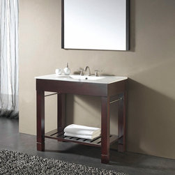 "36"" Loft Vanity - The 36"" Loft Vanity features a stunning Dark Walnut finish, integral porcelain countertop and a sleek, modern design."