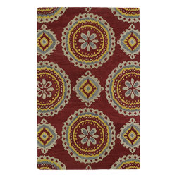 "Kaleen - Kaleen Global Inspirations GLB09 (Red) 5' x 7'9"" Rug - This Hand Tufted rug would make a great addition to any room in the house. The plush feel and durability of this rug will make it a must for your home. Free Shipping - Quick Delivery - Satisfaction Guaranteed"