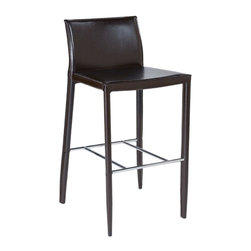 Eurø Style - Shen Brown Leather Counter Stool (Set of Two) - Exquisite Shen Brown Leather Counter Stool (Set of Two) brings luxurious feel. This price is for 2 Chairs.