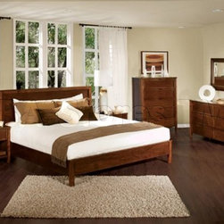 Eastern King 5 Pcs Bedroom Set (King Bed, 2 Nightstands, Dresser and Mirror) - Add Eastern King 5 Pcs Bedroom Set (King Bed, 2 Nightstands, Dresser and Mirror) to your bedroom! This set is contemporary styling with sleek, expansive lines in a rich finish and its premium construction uses Tropical hardwoods, MDF and veneers. Bed features a solid wood frame, side rails, slat pack, LS Metal Brackets, center support bar and centre support legs for superior strength.