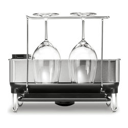 simplehuman - Simplehuman Compact Steel Grey Frame Dishrack - The elegant solid steel frame of the Simplehuman compact dish rack with fingerprint-proof finish in grey keeps the body shiny and sleek. This unit surely matches the aesthetic of any quality kitchen decor.