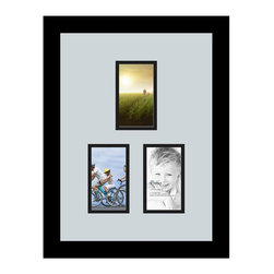 ArtToFrames - ArtToFrames Collage Photo Frame  with 3 - 3x5 Openings - This modern Satin Black, 1.25 inch thick collage frame, features a multiple opening display for 3 - 3x5 prints of your choice. This collage is part of a vast collage frame selection and boasts a sweeping line of carefully constructed frames at a price you can gloat about! Handmade and formed to suit your prints ensuring you 3 - 3x5 art will fit perfectly. Bordered in a bold Satin Black, sophisticated frame and accompanied by a clean Baby Blue mat, the collage arrangement absolutely highlights your photographs, and most cherished memories in an entirely interesting and creative way. This collage frame comes protected in Regular Glass, handy with proper hardware and can be presented with ease. These premium quality and naturally wood-based collage frames change in tone and size; all in contemporary and modern design. Mats are available in a bevy of color tones, openings, and shapes. It's time to tell your story! Preserving your sharing your memories in an original and brilliant new way has never been easier.