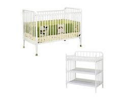Da Vinci - DaVinci Jenny Lind 3-in-1 Stationary Convertible Mobile Wood Crib Set in White - Da Vinci - Baby Crib Sets - M7391WM0302WPpkg - DaVinci Jenny Lind 3-in-1 Stationary Convertible Mobile Wood Crib Set in White