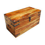 Sierra Living Concepts - Large Wood Storage Toy Box Chest Trunk Coffee Table NEW - Rustic Solid Wood Storage Trunk that can be used as a Coffee Table.