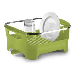 Umbra - Umbra Basin Dish Drying Rack, Avocado - A modern styling and a clever, multi-functional design. Available in a variety of fashion colors such as this bright Avocado green, Basin is constructed of durable, easy-to-clean, BPA-free molded material with a high-gloss exterior finish and a sleek chrome-plated metal rim. Interior ridges keep plates upright for fast-drying, and a built-in utensil caddy conveniently holds flatware and cooking utensils.