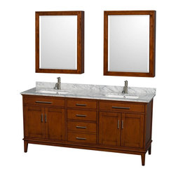 Wyndham Collection - 72 in. Eco-Friendly Double Vanity Set - Includes white Carrera marble countertop with backsplash, two undermount square porcelain sinks and two medicine cabinet mirrors. Faucets not included. Transitional style. Pre-drilled for single hole faucet mount. Four functional doors. Three functional deep doweled drawers. Single faucet hole mount. 12-stage wood preparation, sanding, painting and hand finishing process. Highly water-resistant low V.O.C. sealed finish. Plenty of storage and counter space. Practical floor standing design. Fully extending under-mount soft-close drawer slides. Concealed soft-close door hinges. Metal exterior hardware in brushed chrome. Engineered to prevent warping and last lifetime. Made from zero emissions solid birch hardwood. Light chestnut finish. Medicine cabinet mirror: 28 in. W x 6.25 in. D x 36 in. H. Countertop: 72 in. W x 22 in. D x 0.75 in. H. Backsplash: 72 in. W x 0.75 in. D x 3.25 in. H. Vanity: 70.75 in. W x 21.5 in. D x 34.25 in. H. Vanity with countertop: 72 in. W x 22 in. D x 35 in. H. Warranty. Care Instructions. Vanity Installation Instructions. Cabinet Installation Instructions. Counter Handling InstructionsBring feeling of texture and depth to your bath with the gorgeous Hatton vanity series. Contemporary classic for the most discerning of customers. The Wyndham Collection is entirely unique and innovative bath line. Sure to inspire imitators, the original Wyndham Collection sets new standards for design and construction.