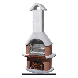 Buschbeck Aspen Garden Grill - This simple yet brilliant piece is the ultimate item for outdoor cooks:  a deck stove that doubles as a wood-fired grill!  Enjoy the smoky flavor of hickory grilled food in every season, or simply fire it up to heat up those cold nights as you relax in your garden, on the patio, or near the pool!