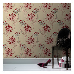 Graham & Brown - Burst Wallpaper - Our bursts of flamboyant and delightful large red flower wallpaper, gives a hint of Eastern exoticism and elegance. This exquisite design showcases a simple and sophisticated pattern of red and white petals and grey stems against pale cream. This wallpaper is great for highlighting a feature wall in coordinating with a simple and stylish paper in single or bold statement the neutral colours within the wallpaper, it will works radiantly with a wide variety of styles and tastes.