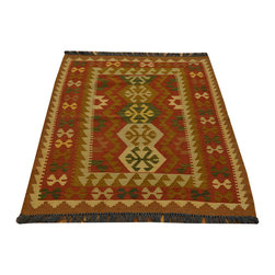 Area Rug, Hand Woven Reversible Anatolian Kilim 3'X4' Flat Weave Rug SH13607 - Soumaks & Kilims are prominent Flat Woven Rugs.  Flat Woven Rugs are made by weaving wool onto a foundation of cotton warps on the loom.  The unique trait about these thin rugs is that they're reversible.  Pillows and Blankets can be made from Soumas & Kilims.