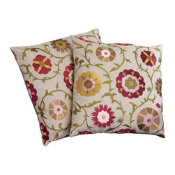 """Great Deal Furniture - 18"""" Linen Flowers Pillows (Set of 2) - Add contemporary design to your seating areas with our decorative pillow sets. Featuring a linen blend cover, you'll find these pillows both stylish and comfortable."""