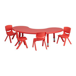 Flash Furniture - Flash Furniture Accent Furniture X-GG-E-DER-LBT-NOOM-2-3400-XCY-UY - This table set is excellent for early childhood development. Primary colors make learning and play time exciting when several colors are arranged in the classroom. The durable table features a plastic top with steel welding underneath along with height adjustable legs. The chair has been properly designed to fit young children to develop proper sitting habits that will last a lifetime. [YU-YCX-0043-2-MOON-TBL-RED-E-GG]