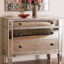 """Horchow - Mirrored Hall Chest - You'll love this stunning mirrored hall chest with antiqued mirror finish.  Perfect for the entry or any room needing a bit of vintage glamour.  42""""W x 19""""D x 34.5""""T."""
