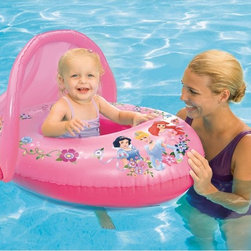 SwimWays - SwimWays Disney Princess Sun Canopy Baby Float Multicolor - 25083 - Shop for Floats and Toys from Hayneedle.com! Your little girl can be royalty too with the SwimWays Disney Princess Sun Canopy Baby Float keeping her afloat. This pretty baby float is made to last from durable vinyl. Its comes in dazzling pink and is covered with Disney princesses. The canopy keeps harmful UV rays at bay and the seat has a low center of gravity for your child's safety.About SwimWays Based in Virginia Beach Virginia SwimWays has one mission: make free time more fun through innovation. They provide your family with pool toys floats decorations games and even swim training gear to make sure you have no ordinary day at the pool. With over 35 000 storefronts and offices in Hong Kong and the United States SwimWays diverse staff is dedicated to bringing you the best. Safety is their priority helping to teach kids to swim for over 40 years with an innovative line of swim-training products. SwimWays is here to help and stands by their products every step of the way.