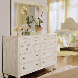 American Drew - American Drew Camden-Light Chest w/ Round Mirror Mirror in White Painted - The Camden-Light Collection melds simple forms with quiet traditional references  gentle curves and a beautiful time worn ivory finish that lets the character of the wood show through. The brushed nickel finish hardware adds even more character to the Camden collection. This line will work great in your renovated farm house or a smaller beach cottage get-away.