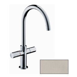 "Hansgrohe - Hansgrohe 38040821 Brushed Nickel Axor Uno 2 Axor Uno 2 Bathroom - Features:All brass faucet body and handle constructionFully covered under Hansgrohe s limited lifetime warrantyHansgrohe faucets are designed and engineered in GermanySuperior finishing process - finishes will resist corrosion and tarnishing through everyday useDouble knob handle operation – handles rest on 1/4 turn valvesLow lead compliant- meeting federal and state regulations for lead contentWaterSense Certified product- using at least 30% less water than standard 2.2 GPM faucets, while still meeting strict performance guide lines.Designed for use with standard U.S. plumbing connectionsAll hardware needed for mounting is included with faucetIncludes metal pop-up drain assemblySpecifications:Overall Height: 13"" (measured from counter top to the highest part of the faucet)Spout Height: 8-7/8"" (measured from counter top to the spout outlet)Spout Reach: 8-1/4"" (measured from the center of the faucet base to the center of spout outlet)Mounting Type: Single holeNumber of Holes Required for Installation: 1Faucet Centers (Distance Between Handle Installation Holes): Single HoleFlow Rate: 2.2 GPM (gallons-per-minute)Maximum Deck Thickness: 1-5/8""Metal knob handles included with faucetVariations: 38040: This model38120: Wall mount version of this model with electronic sensor38118: Wall mount version of this model less valve38117: Wall mount version with escutcheon38053: Widespread version of this model with drain assembly38043: Wall mount version of this model with widespread knob handles38030: Single hole version of this model with high spoutAbout Hansgrohe: Founded in Germany's Black Forest back in 1901, Hansgrohe is co"